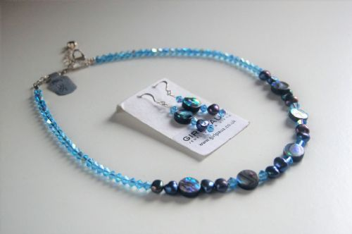 Paua, Freshwater Pearl  & Swarovski Necklace & Earrings PN30